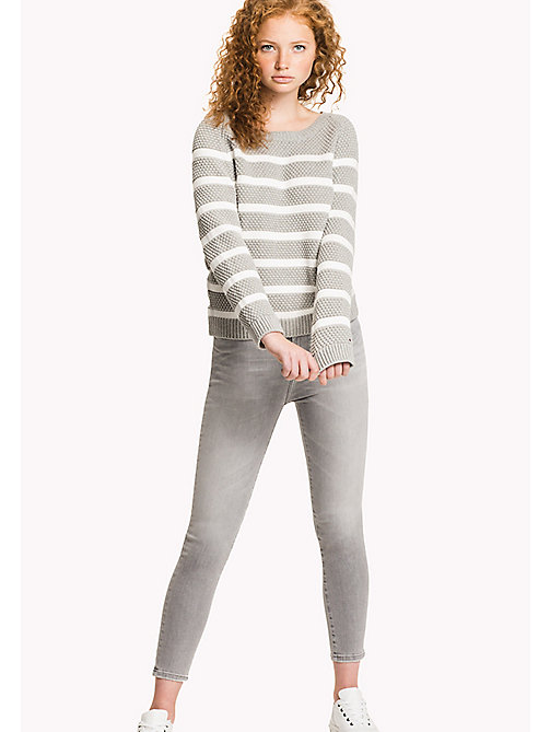 TOMMY HILFIGER Textured Crew Neck Jumper - LIGHT GREY HTR / SNOW WHITE - TOMMY HILFIGER Jumpers - main image