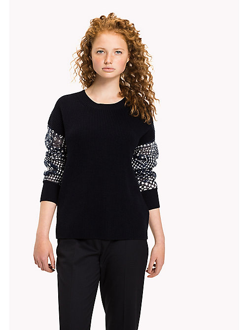 TOMMY HILFIGER Embroidered Sleeve Jumper - MIDNIGHT - TOMMY HILFIGER Jumpers - main image
