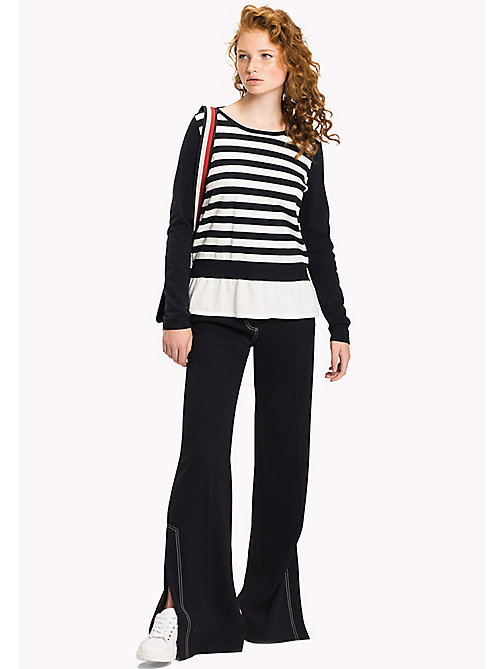 Stripe Peplum Jumper - MIDNIGHT / SNOW WHITE - TOMMY HILFIGER Clothing - main image
