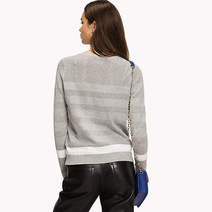 TOMMY HILFIGER Open Mesh Stripe Cardigan - MIDNIGHT / FLAME SCARLET - TOMMY HILFIGER Women - detail image 1