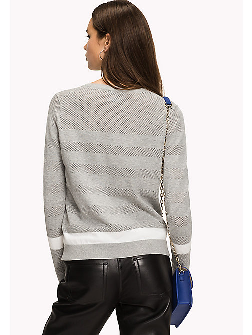 TOMMY HILFIGER Open Mesh Stripe Cardigan - LIGHT GREY HTR / SNOW WHITE - TOMMY HILFIGER Sweatshirts & Knitwear - detail image 1