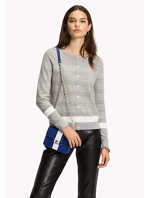 TOMMY HILFIGER Open Mesh Stripe Cardigan - LIGHT GREY HTR / SNOW WHITE - TOMMY HILFIGER Sweatshirts & Knitwear - main image