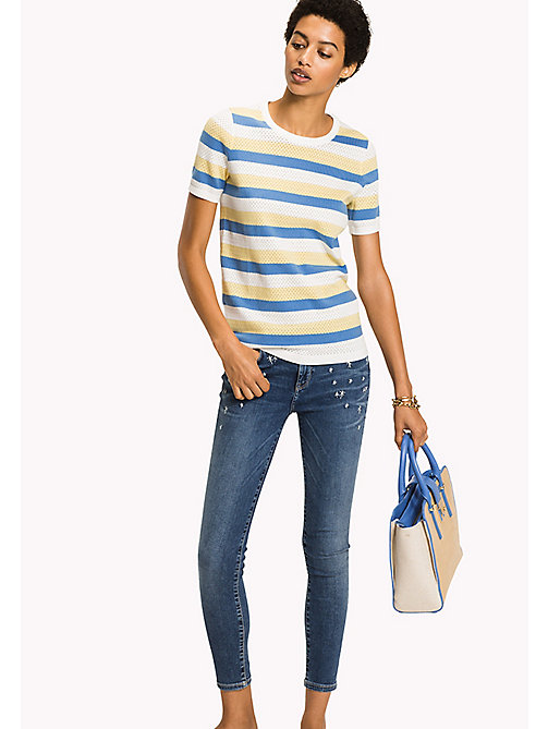 TOMMY HILFIGER Mesh Stripe Jumper - SUNSHINE / REGATTA / SNOW WHITE - TOMMY HILFIGER Jumpers - main image