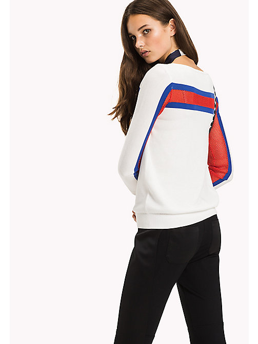 TOMMY HILFIGER Mesh Boat Neck Jumper - SNOW WHITE / SURF THE WEB / FLAME SCARLE -  NEW IN - detail image 1