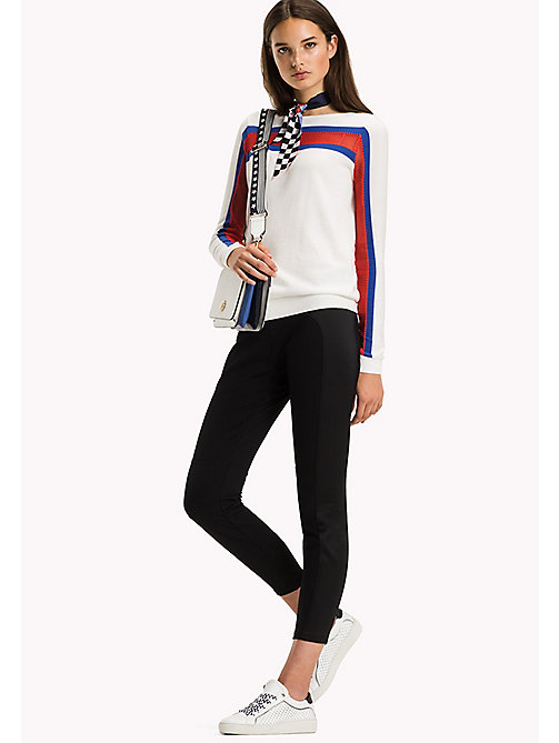TOMMY HILFIGER Mesh Boat Neck Jumper - SNOW WHITE / SURF THE WEB / FLAME SCARLE - TOMMY HILFIGER Jumpers - main image