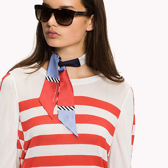 TOMMY HILFIGER Stripe Crew Neck Jumper - SNOW WHITE / MIDNIGHT - TOMMY HILFIGER Women - detail image 2