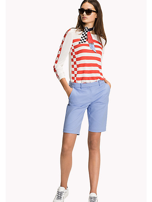TOMMY HILFIGER Stripe Crew Neck Jumper - SNOW WHITE / FLAME SCARLET - TOMMY HILFIGER Jumpers - main image