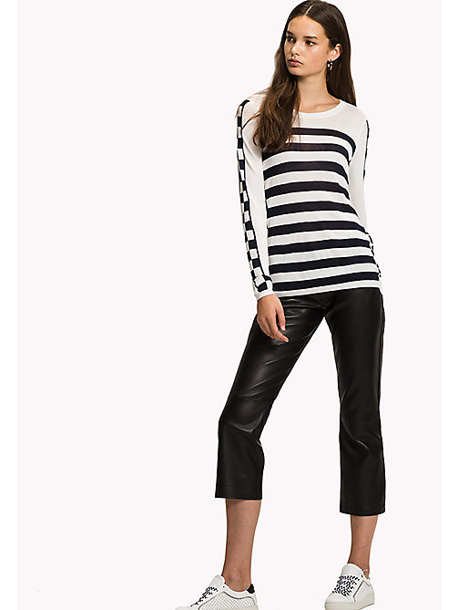 TOMMY HILFIGER Stripe Crew Neck Jumper - SNOW WHITE / MIDNIGHT - TOMMY HILFIGER Jumpers - main image