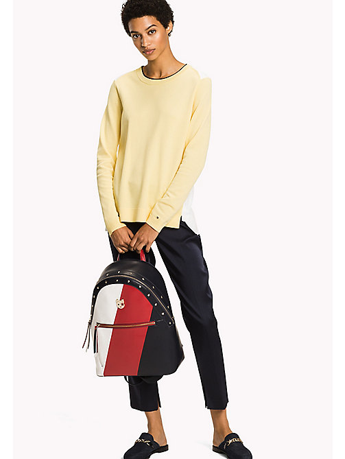 TOMMY HILFIGER Colour-Blocked Classic Fit Jumper - SUNSHINE / SNOW WHITE - TOMMY HILFIGER NEW IN - main image