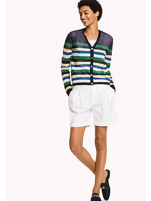 TOMMY HILFIGER Stripe V-Neck Cardigan - MIDNIGHT MULTI -  NEW IN - main image