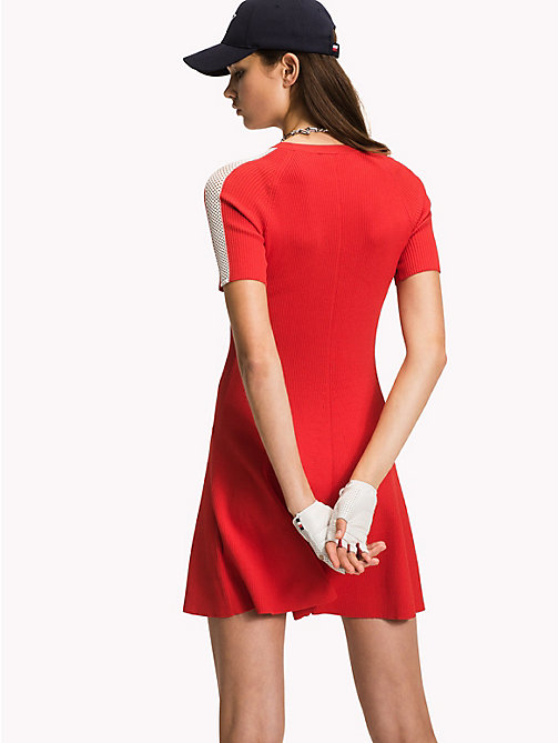 TOMMY HILFIGER Short-Sleeve Sweater Dress - FLAME SCARLET - TOMMY HILFIGER Mini - detail image 1