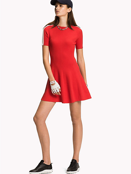 TOMMY HILFIGER Short-Sleeve Sweater Dress - FLAME SCARLET - TOMMY HILFIGER Mini - main image