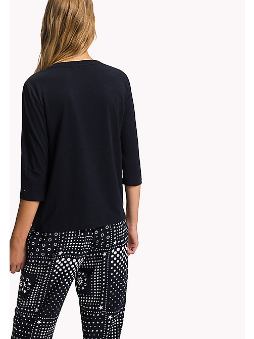 Glanzende blouse met strik-detail - MIDNIGHT -  Kleding - detail image 1