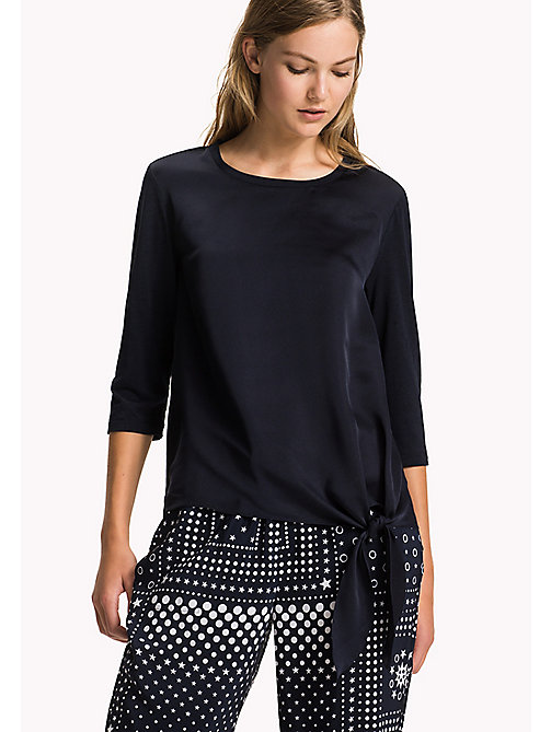 Glanzende blouse met strik-detail - MIDNIGHT -  Kleding - main image