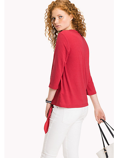 Side-Tie Sheen Top - CRIMSON - TOMMY HILFIGER Kleidung - main image 1