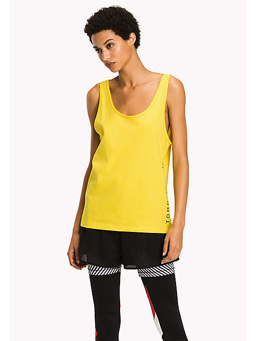 TOMMY HILFIGER Logo Print Tank Top - EMPIRE YELLOW - TOMMY HILFIGER Athleisure - main image