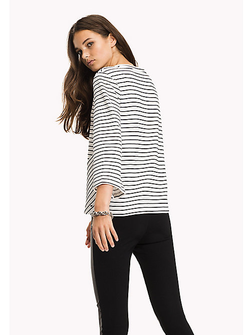 Stripe V-Neck Top - MIDNIGHT / CLASSIC WHITE STP - TOMMY HILFIGER Clothing - detail image 1