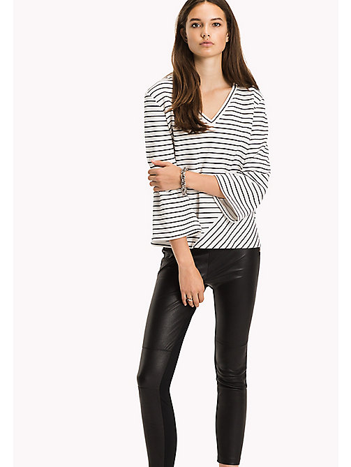 Stripe V-Neck Top - MIDNIGHT / CLASSIC WHITE STP - TOMMY HILFIGER Clothing - main image