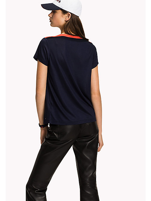 Contrast Boat Neck Top - MIDNIGHT - TOMMY HILFIGER Clothing - detail image 1