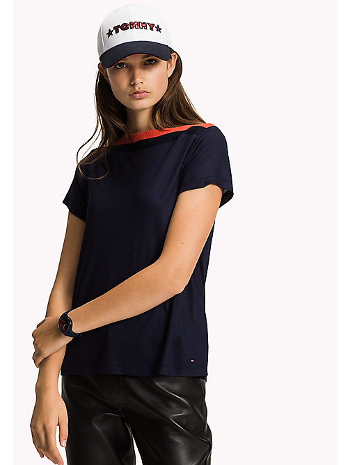 Contrast Boat Neck Top - MIDNIGHT - TOMMY HILFIGER Clothing - main image