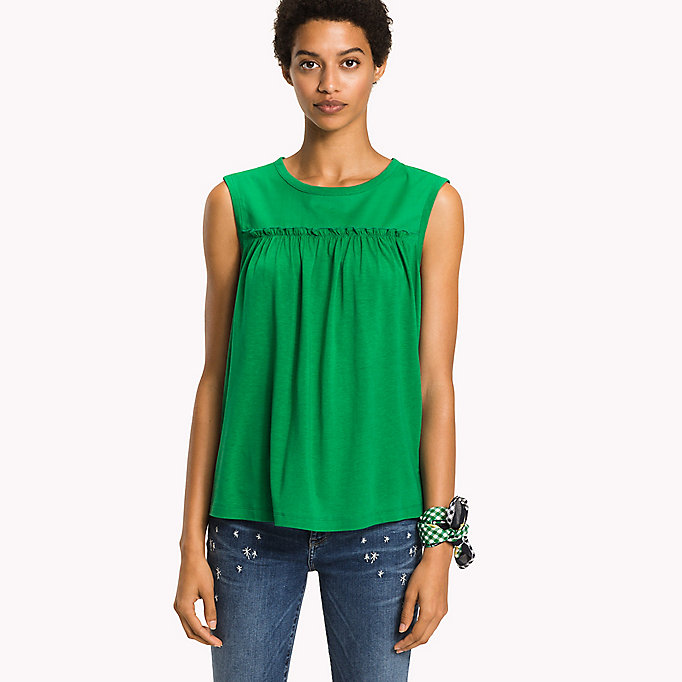 TOMMY HILFIGER Top in jersey con arricciature - MIDNIGHT - TOMMY HILFIGER Donne - immagine principale