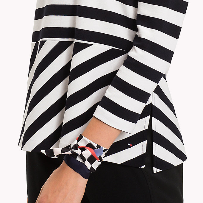 TOMMY HILFIGER Stripe Flare Top - FLAME SCARLET / CLASSIC WHITE STP - TOMMY HILFIGER Clothing - detail image 2