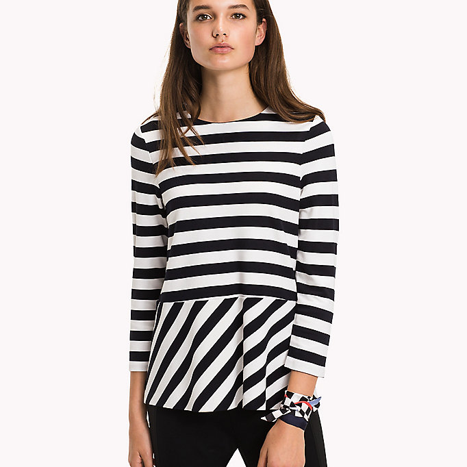 TOMMY HILFIGER Stripe Flare Top - FLAME SCARLET / CLASSIC WHITE STP - TOMMY HILFIGER Clothing - main image