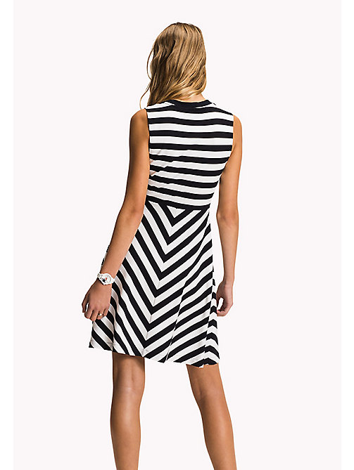 Stripe Fit and Flare Dress - MIDNIGHT / CLASSIC WHITE STP - TOMMY HILFIGER Clothing - detail image 1
