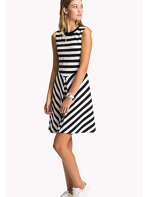 TOMMY HILFIGER Stripe Fit and Flare Dress - MIDNIGHT / CLASSIC WHITE STP - TOMMY HILFIGER Dresses - main image