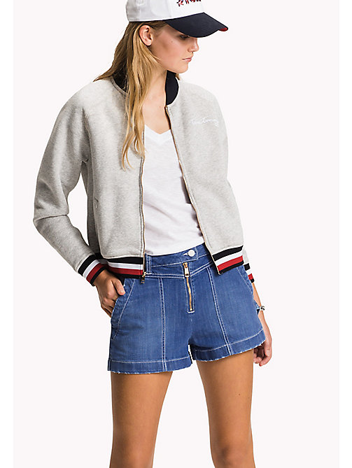 Stripe Bomber Jacket - LIGHT GREY HTR - TOMMY HILFIGER Clothing - main image