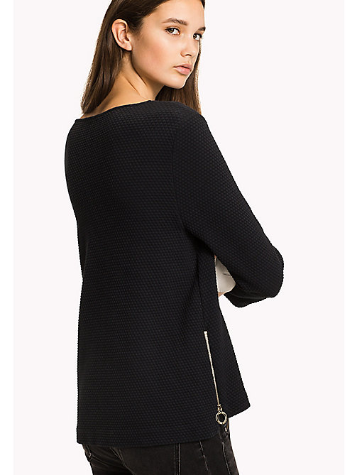 TOMMY HILFIGER Textured Jacquard Jumper - BLACK BEAUTY - TOMMY HILFIGER Jumpers - detail image 1