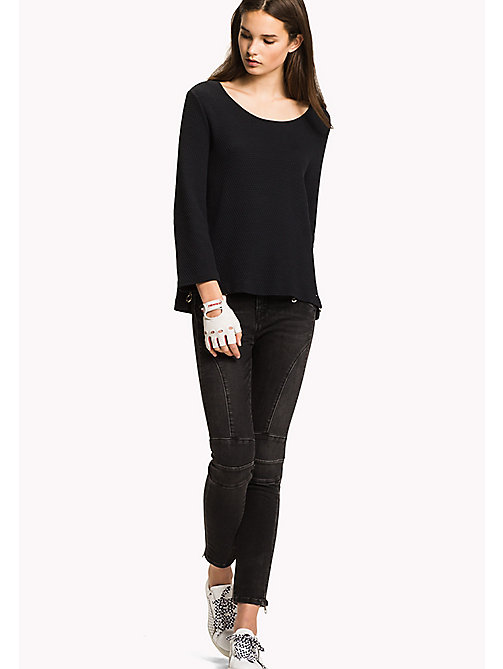 TOMMY HILFIGER Textured Jacquard Jumper - BLACK BEAUTY - TOMMY HILFIGER Jumpers - main image
