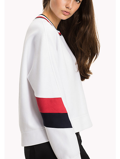 TOMMY HILFIGER Athletic Signature Stripe Sweatshirt - CLASSIC WHITE - TOMMY HILFIGER Athleisure - main image
