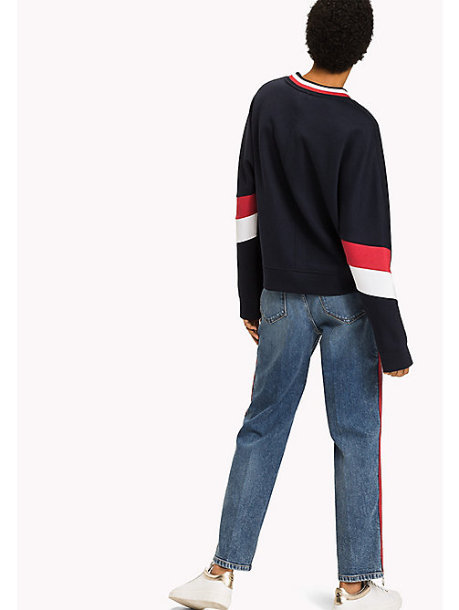 TOMMY HILFIGER Athletic Signature Stripe Sweatshirt - MIDNIGHT - TOMMY HILFIGER Athleisure - detail image 1