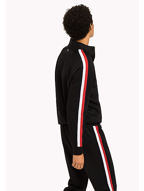 TOMMY HILFIGER Logo Stripe Zip Jumper - BLACK BEAUTY - TOMMY HILFIGER Athleisure - detail image 1