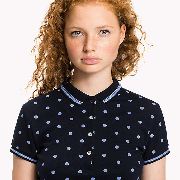 TOMMY HILFIGER Fitted Print Polo - SPEED PATCHWORK STP / BLACK BEAUTY - TOMMY HILFIGER Women - detail image 2