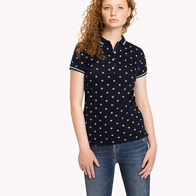 TOMMY HILFIGER Fitted Print Polo - SPEED PATCHWORK STP / BLACK BEAUTY - TOMMY HILFIGER Women - main image