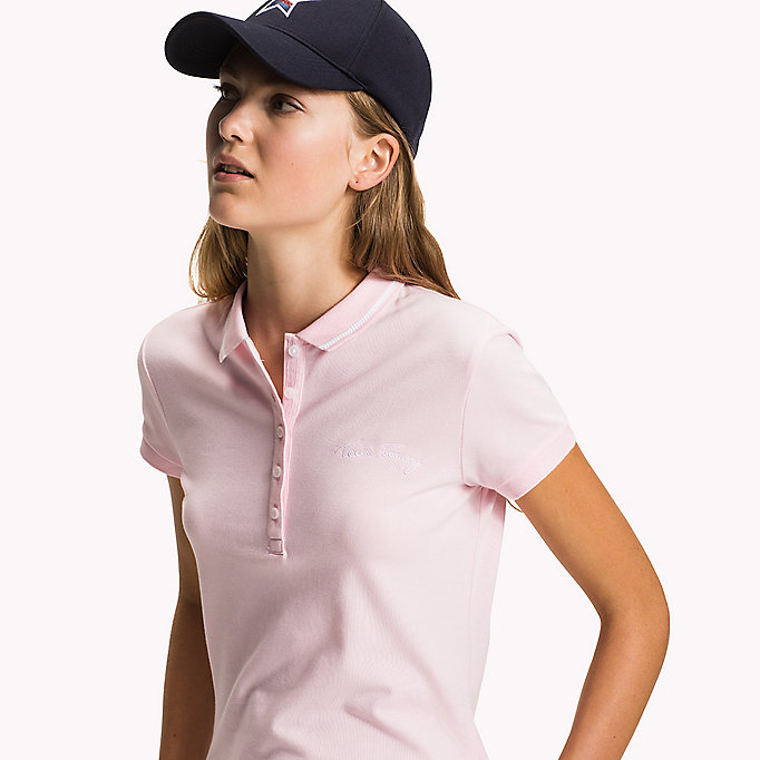 TOMMY HILFIGER Fitted Heritage Stripe Polo - FLAME SCARLET - TOMMY HILFIGER Women - detail image 2
