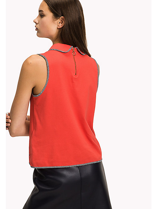 TOMMY HILFIGER Binding Polo Top - FLAME SCARLET - TOMMY HILFIGER Clothing - detail image 1