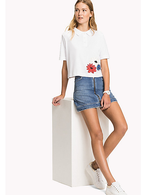Flower Embroidered Cropped Polo Shirt - CLASSIC WHITE - TOMMY HILFIGER Clothing - main image