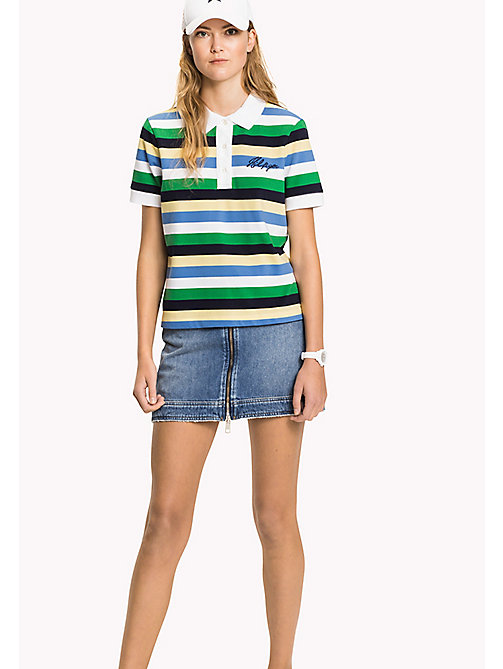 TOMMY HILFIGER Embroidered Stripe Polo Shirt - SEQUIN STP / JELLY BEAN - TOMMY HILFIGER Vacation Style - main image