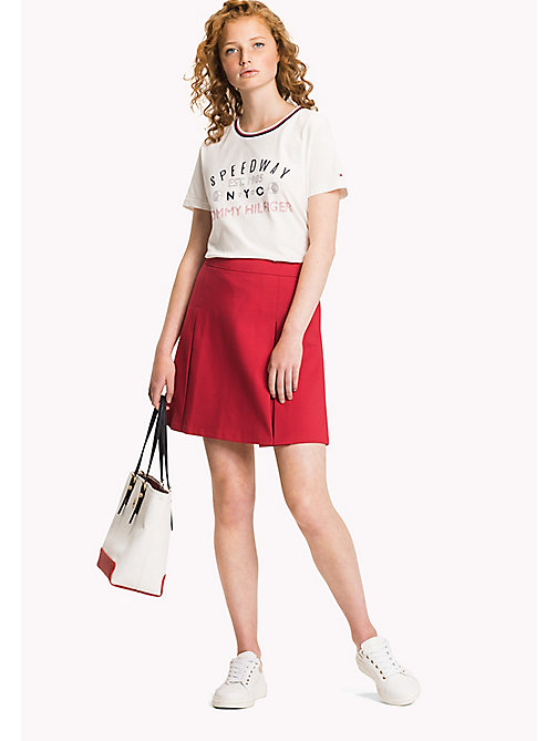 TOMMY HILFIGER Contrast Crew Neck T-Shirt - SNOW WHITE - TOMMY HILFIGER Vacation Style - main image