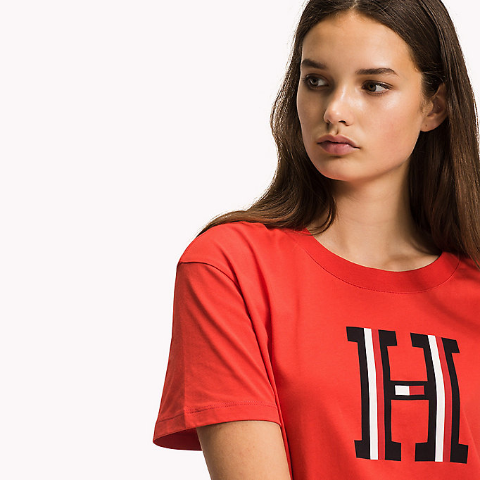 TOMMY HILFIGER Crew Neck Logo T-Shirt - CLASSIC WHITE H PRT - TOMMY HILFIGER Clothing - detail image 2