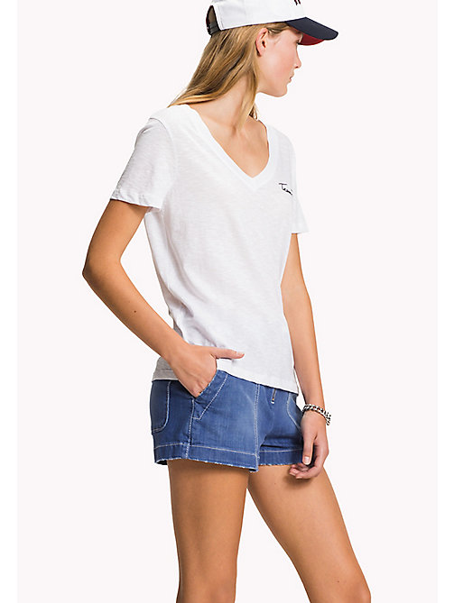TOMMY HILFIGER V-Neck Cotton T-Shirt - CLASSIC WHITE - TOMMY HILFIGER T-Shirts - main image