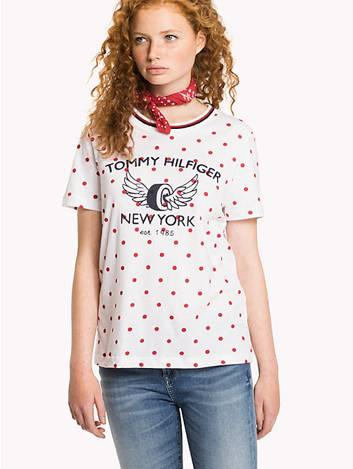TOMMY HILFIGER Crew Neck Logo T-Shirt - SNOW WHITE / CRIMSON POLKA DOT - TOMMY HILFIGER T-Shirts - main image