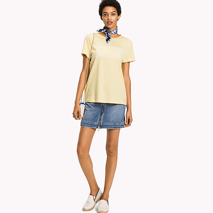 TOMMY HILFIGER T-Shirt mit Vichy-Muster und Logo - CLASSIC WHITE / GINGHAM PRT - TOMMY HILFIGER Damen - main image