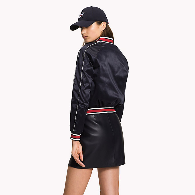 TOMMY HILFIGER Satin Team Bomber Jacket - FLAME SCARLET - TOMMY HILFIGER Women - detail image 1