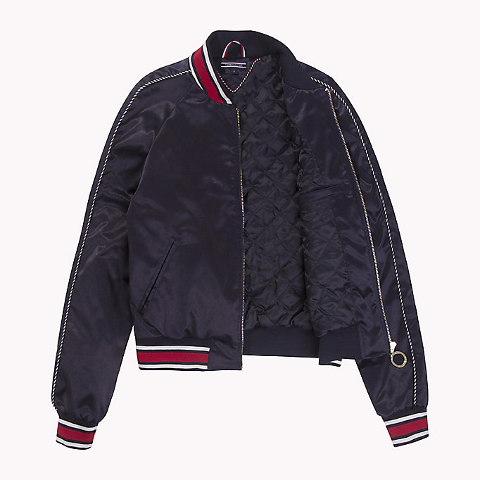 TOMMY HILFIGER Satin Team Bomber Jacket - FLAME SCARLET - TOMMY HILFIGER Women - detail image 4