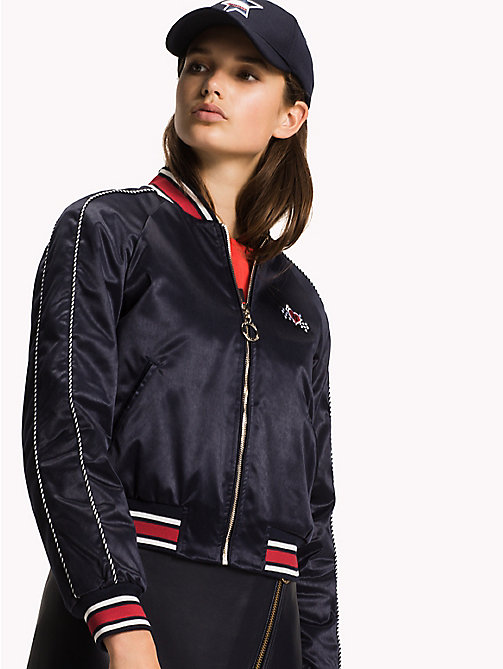 TOMMY HILFIGER Satin Team Bomber Jacket - MIDNIGHT - TOMMY HILFIGER Women - main image