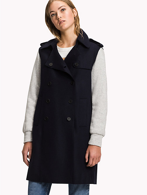 TOMMY HILFIGER Wool Blend Trench Coat - MIDNIGHT - TOMMY HILFIGER Clothing - main image